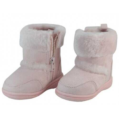 Case of [24] Kids' Winter Boots with Fur Cuff - Pink, 12-4