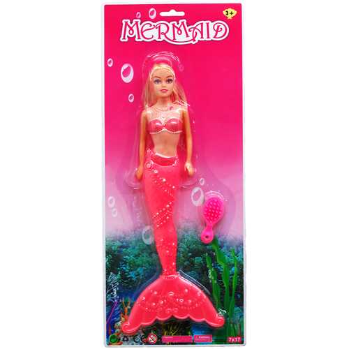 """Case of [36] 12"""" Mermaid Doll With Brush - Assorted"""