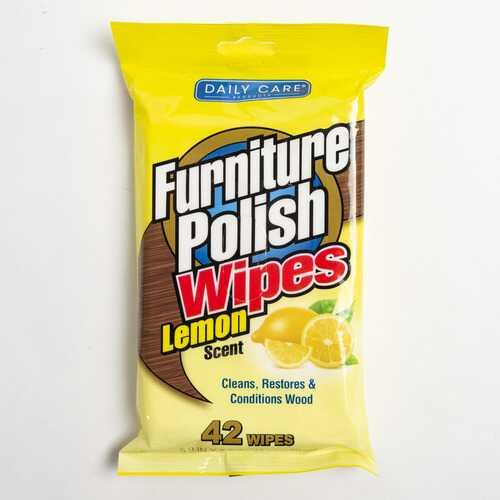 Case of [24] Furniture Polish Lemon Wipes, 42 count