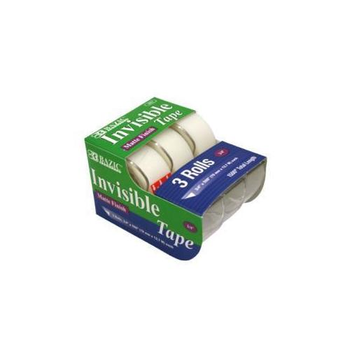"Case of [24] Bazic 3/4"" x 500"" Invisible Tape - 3/Pack"