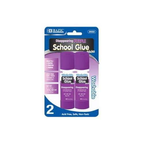 Case of [24] Bazic 21g/0.7 oz. Large Washable Purple Glue Stick