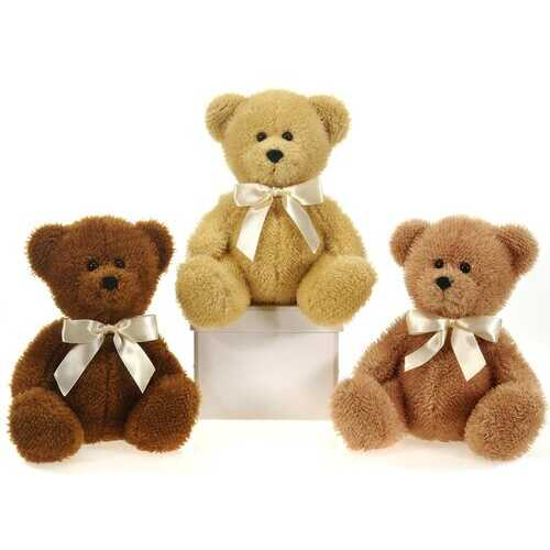 """Case of [24] 9"""" Sitting Bears With Ribbon Plush Toy - Assorted Colors"""