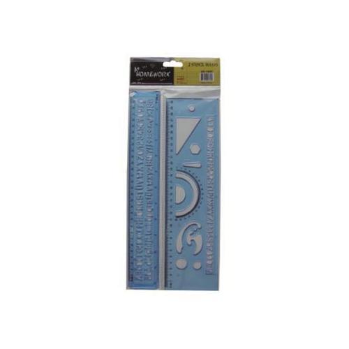 "Case of [48] 2 Piece Ruler & Stencil Set - 12"""
