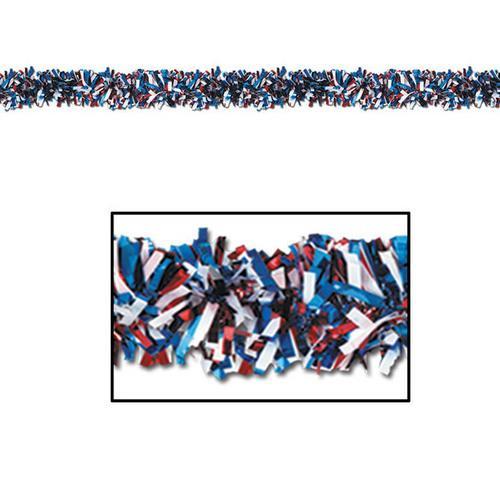 Case of [12] 6-Ply FR Metallic Festooning Garland - Red, White, Blue