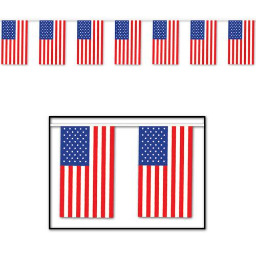 Case of [12] American Flag Pennant Banner