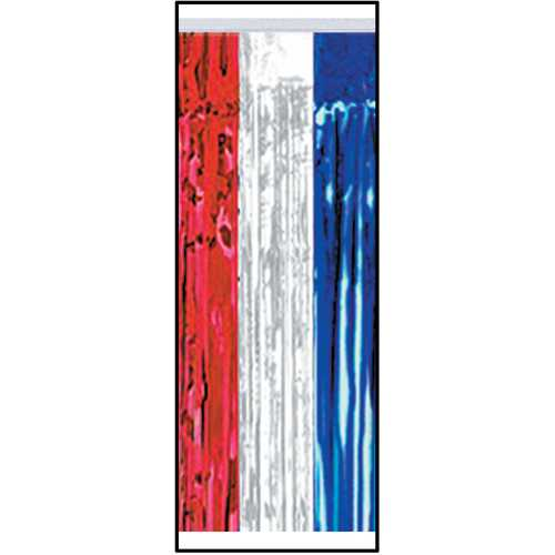 Case of [6] Packaged 1-Ply FR Metallic Table Skirting - Red, Silver, Blue