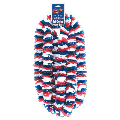 Case of [100] Soft-Twist Patriotic Poly Leis - Red, White, Blue #16636