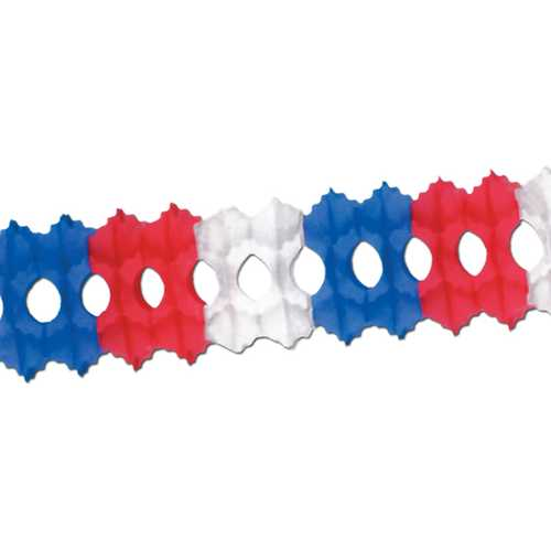 Case of [12] Packaged Arcade Garland - Red, White, Blue