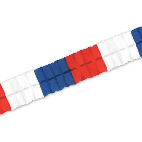 Case of [24] Packaged Leaf Garland - Red, White, Blue