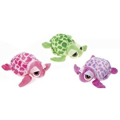 """Case of [36] 8"""" Glittered Big Eyed Turtle Plush - Assorted Colors"""