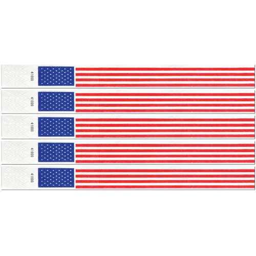 Case of [6] Patriotic Tyvek Wristbands