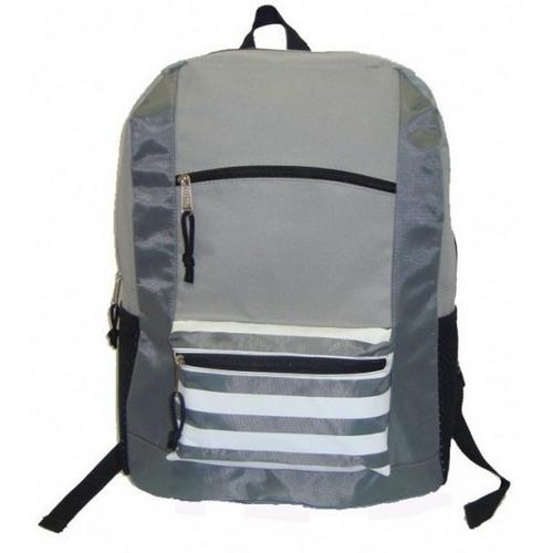 "Case of [40] 18"" Classic Striped Front Backpack - Grey"