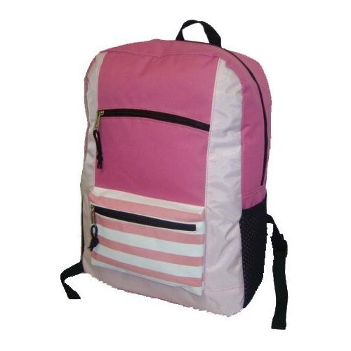 "Case of [40] 18"" Classic Striped Front Backpack - Pink"