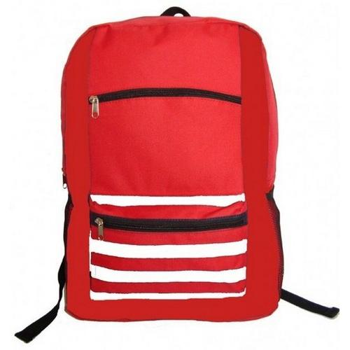 "Case of [40] 18"" Classic Striped Front Backpack - Red"
