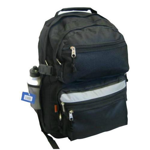 """Case of [12] 19"""" Premium Multi-Pocket Backpack with Bottle - Black"""