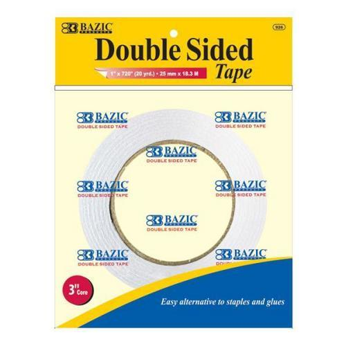 "Case of [24] Bazic 1"" x 20 Yard (720"") Double Sided Tape"
