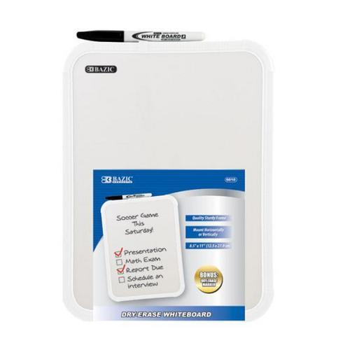 "Case of [12] BAZIC 8.5"" X 11"" Dry Erase Board w/ Marker"