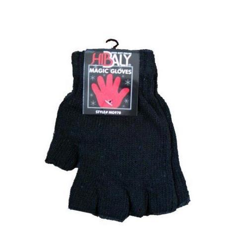 Case of [120] Adult Irregular Fingerless Magic Gloves - Black