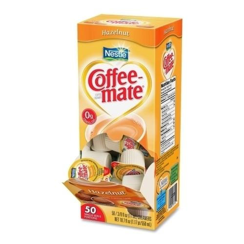 Case of [3] Nestle' USA Single-Serving Creamer, Hazelnut, .38 oz, 50/BX