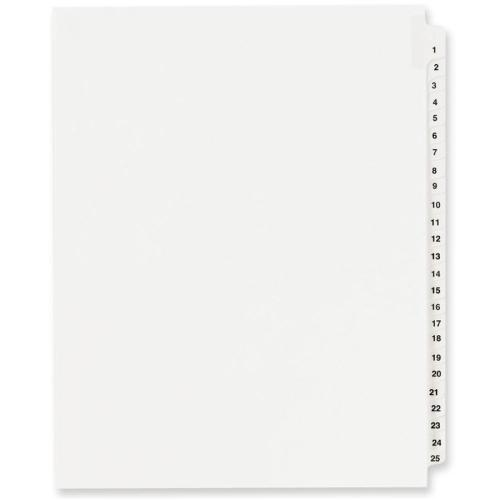 Case of [11] Index Dividers, Exhibit 1-25, Side Tab - White