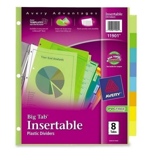 Case of [11] Avery Consumer Products Insertable Tab Dividers, Plastic, 8-Tab, Multi