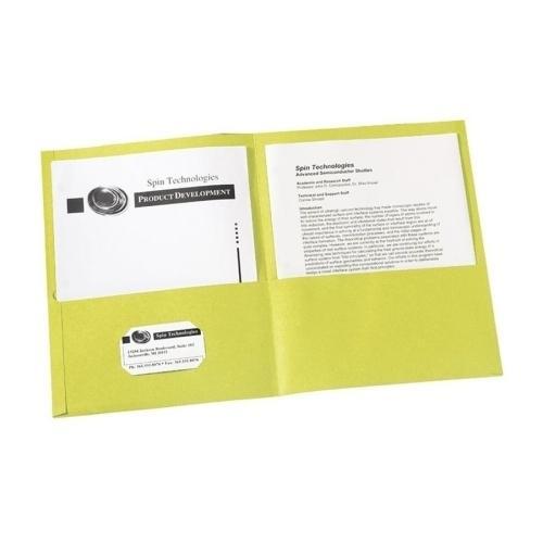 "Case of [3] Embossed Paper 2 Pocket Folder Card Holder - Yellow - 8.5"" x 11"""