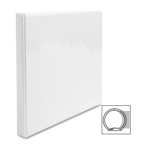 "Case of [12] Business Source View Binder, w/ 2 Inside Pockets, 1/2"" Capacity, White"