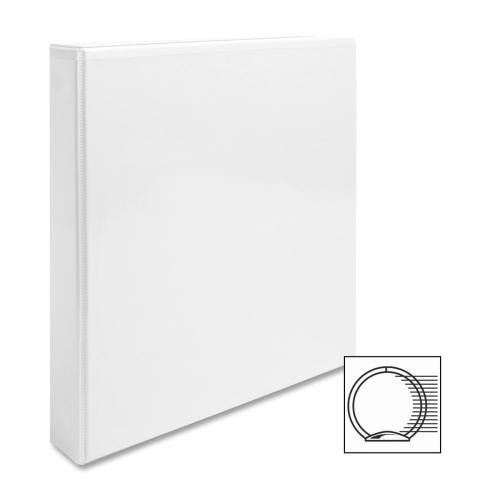 "Case of [12] Business Source View Binder, w/ 2 Inside Pockets, 1"" Capacity, White"