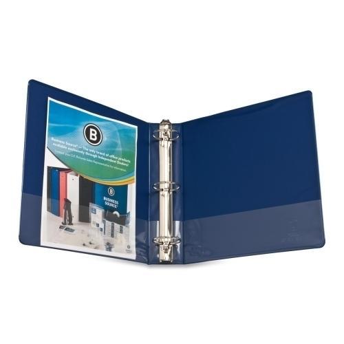 """Case of [8] Business Source Round Ring Binder, w/ Pockets, 2"""", Dark Blue"""