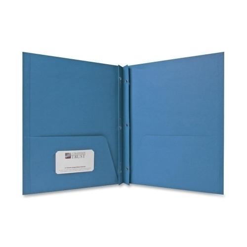 "Case of [2] Embossed Paper 2 Pocket Folder with Prongs - Light Blue - 8.5"" x 11"""