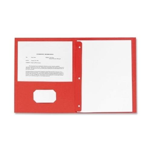 """Case of [2] Embossed Paper 2 Pocket Folder with Prongs - Red - 8.5"""" x 11"""""""