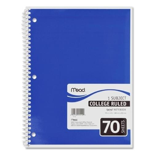 """Case of [21] Mead Spiral Notebook,1-Subject,College Rule,70 Sh,10-1/2""""x8"""",Ast."""