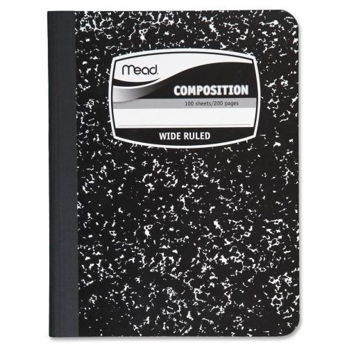 "Case of [14] Mead Composition Book,Wide Ruled,100 Sheets,7-1/2""x9-3/4"",Black"