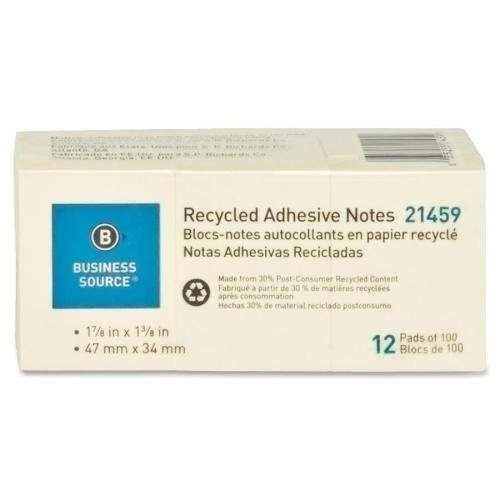 """Case of [11] Business Source Recycled Notes, 1""""x2-1/2"""", 12/PK, Yellow"""