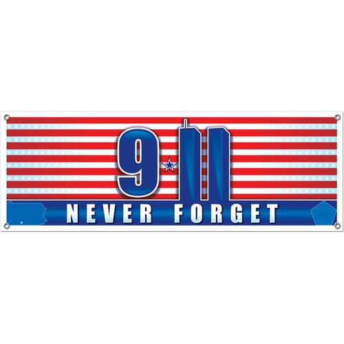 Case of [12] 9/11 Never Forget Sign Banner