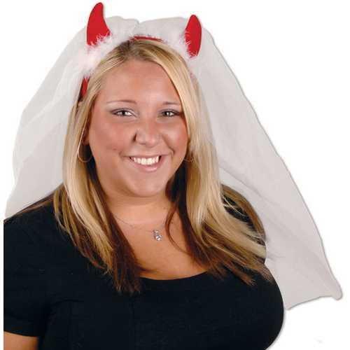 Case of [12] Devil Horns Headband with Veil