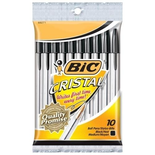Case of [10] Bic Corporation Stic Ballpoint Pen, Medium Point, 10/PK Black/Clear Barrel