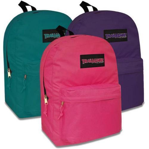 "Case of [24] 17"" Girl's Trailmaker Basic Backpack - 4 Assorted Colors"