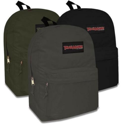 "Case of [24] 17"" Adventure Trails Basic Backpack - 3 Assorted Colors"