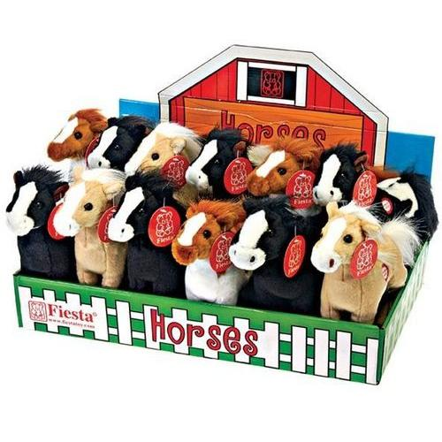 """Case of [24] 8"""" Standing Horse Plush Toy - Assorted Colors"""