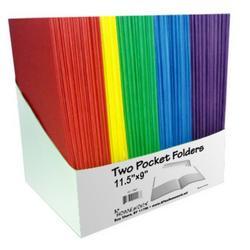 """Case of [100] 2 Pocket Folder - Assorted Colors - 9"""" x 12"""""""