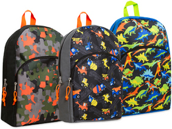 "Case of [24] 15"" Boys Character Backpacks - 4 Assorted Prints"