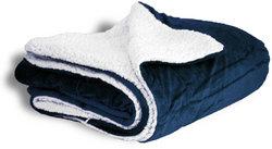 "Case of [12] Micro Mink/Sherpa Blanket 50"" x 60"" - Navy"