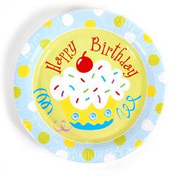 """Birthday Blue Cupcake Printed Plates (9"""" round)"""