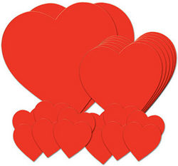 Case of [12] Packaged Printed Heart Cutouts - Printed 2 Sides