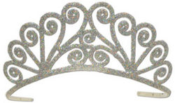 Case of [6] Glittered Metal Tiara - Silver #S0460