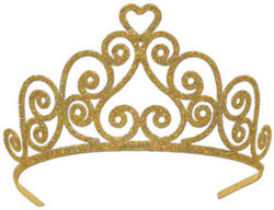 Case of [6] Glittered Metal Tiara - Gold #DG146