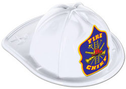 Case of [48] White Plastic Fire Chief Hat