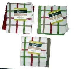 Cotton Valley Check/Solid Dish Cloth 2 pk