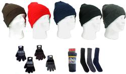Category: Dropship Apparel, SKU #1930951, Title: Case of [180] Men's Hat, Gloves & Wool Blend Socks Combo